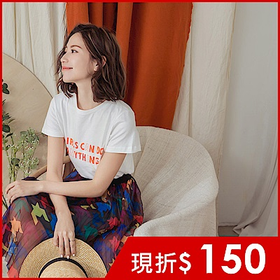 IREAL Girls can do anything短袖字母T