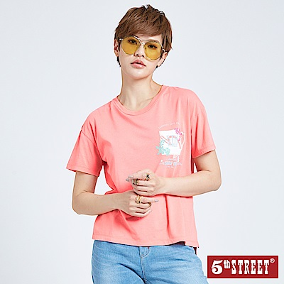 5th STREET 美式印花短袖T恤-女-桔色