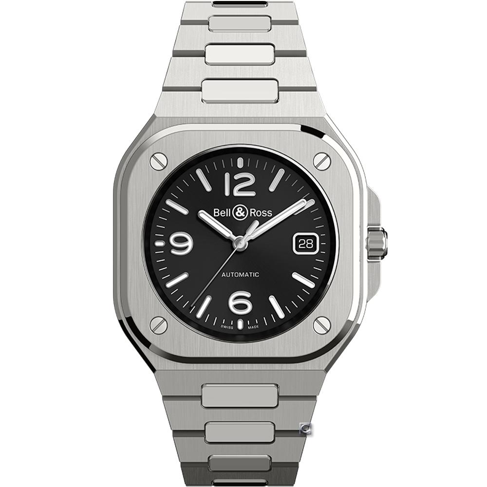 Bell & Ross BR05時尚機械錶-黑x鋼帶/40mm