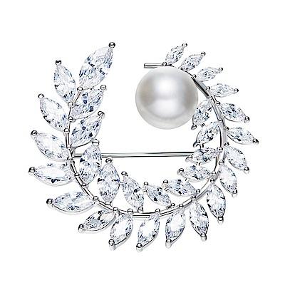 RJ New York晶瑩麥穗水晶珍珠花圈胸針別針兩用 白色