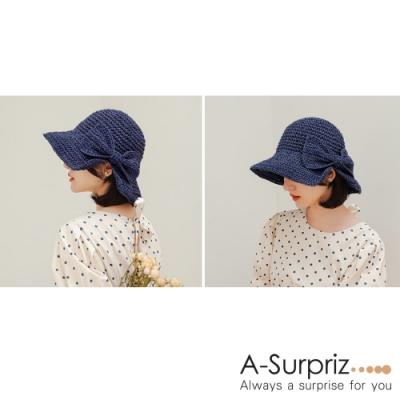 A-Surpriz 開岔蝴蝶結編織遮陽草帽(深藍)