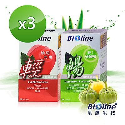 BIOline星譜生技 大餐對策輕暢雙酵組合(甲殼素複方錠+雙酵順暢錠)x3