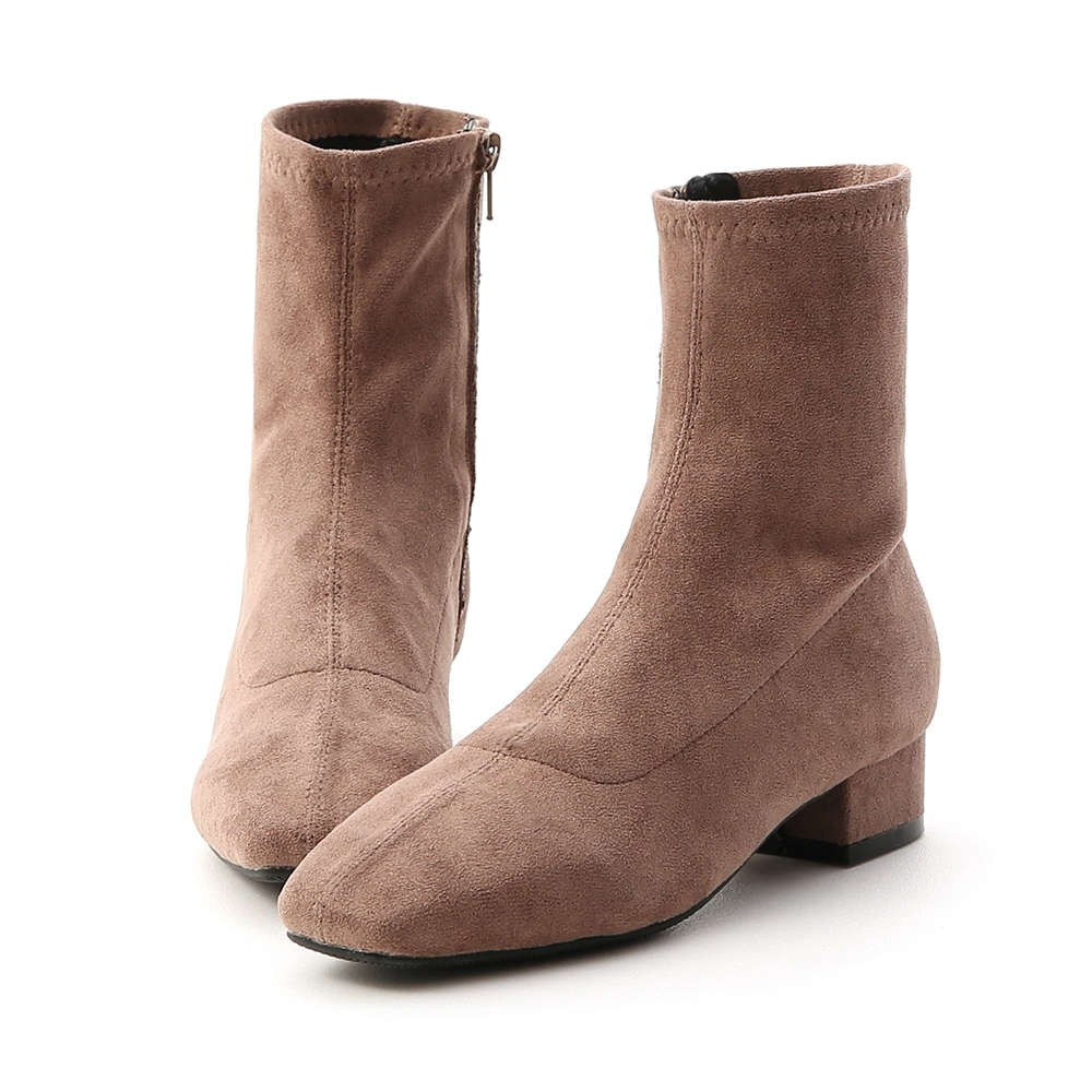 D+AF 人氣指標.素面車線方頭低跟襪靴*灰棕