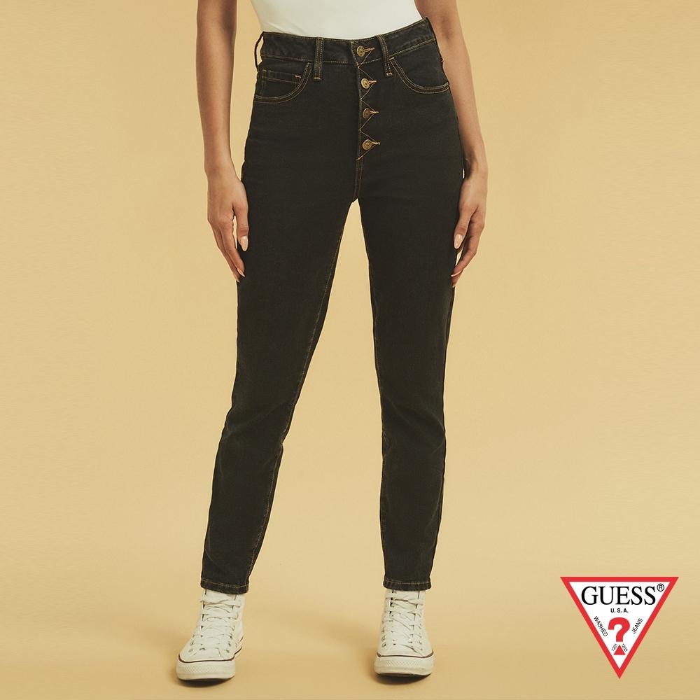 GUESS-女裝-ORIGINALS系列高腰排扣緊身牛仔褲-黑 原價3990