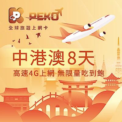 【PEKO】中港澳上網卡 中國 香港 澳門 網卡 sim卡 免翻牆 8日高速4G上網 無限量吃到飽