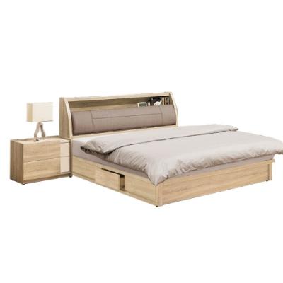 柏蒂家居-瑞莎5尺雙人房間組-三件組(5尺床頭箱+抽屜床底+床頭櫃)