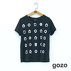 gozo 看展的人趣味設計印花造型T恤(二色)