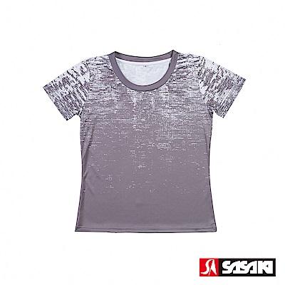 SASAKI 長效性吸濕排汗功能圓領短衫-女-炭墨灰/太空灰