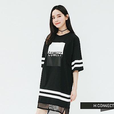 H:CONNECT 韓國品牌 女裝-運動風網紗拼接洋裝-黑