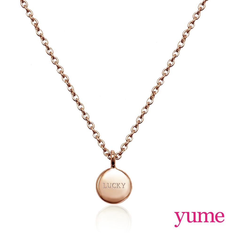 YUME 閨蜜系列 - 祈願小圓牌項鍊 - 玫瑰金