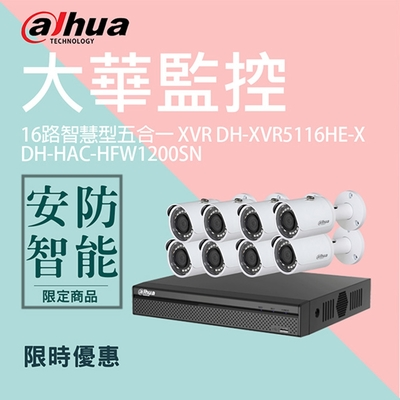 【大華dahua】套餐-奢華版16路8鏡(主機+8攝影機+1配件)