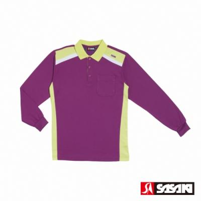 SASAKI 棉質吸濕排汗功能運動休閒長衫-男-深葡萄紫/艷綠