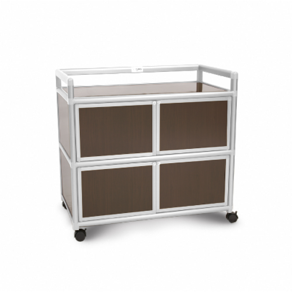 Cabini小飛象-黑桃木得意3.0尺鋁合金四門櫃88.5x50.8x83.6cm