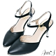 Ann'S訂製仙女鞋-綿羊皮顯瘦V口後拉帶尖頭電鍍直跟鞋-黑 product thumbnail 1