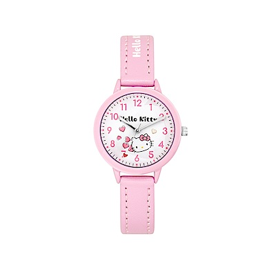 HELLO KITTY 凱蒂貓 粉嫩簡約造型手錶-白×粉紅/32mm