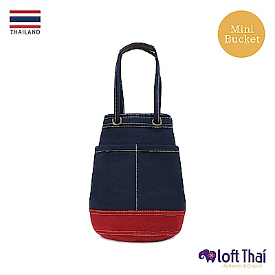 Loft THAI | 泰.兩用帆布水桶包(小) | Navy/red