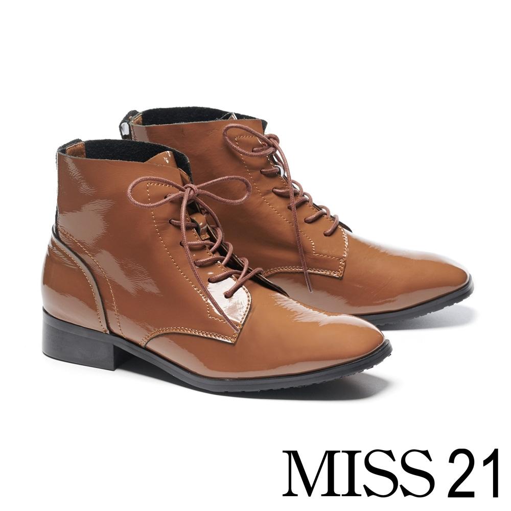 短靴 MISS 21 液感光澤皺漆全真皮綁帶低跟短靴-咖