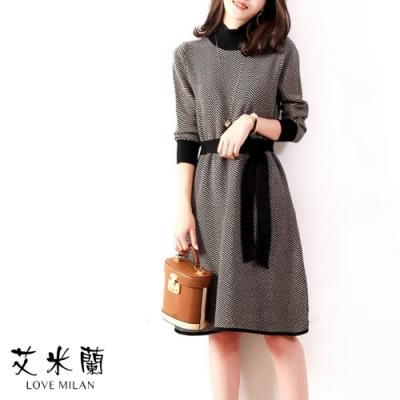 艾米蘭-韓版條紋拼接綁袋洋裝-焦糖色(S-L)