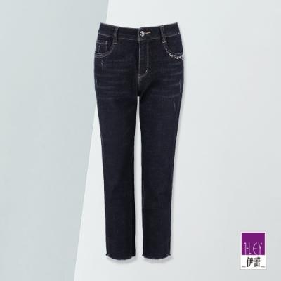 ILEY伊蕾 開衩抽鬚彈力牛仔褲(藍)