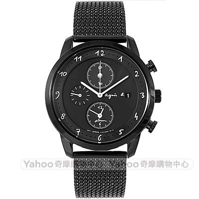 agnes b. 手繪時標米藍帶三眼計時手錶(BY6007P1)-黑/40mm