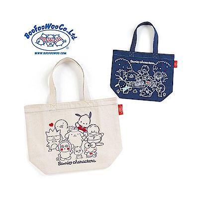 Sanrio SANRIO*BOOFOOWOO刺繡帆布手提袋(90年代-自然米)