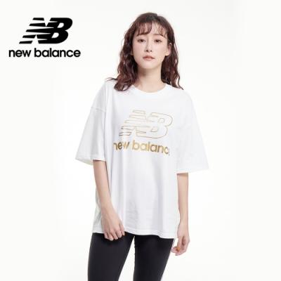 【New Balance】SPEED 金LOGO寬鬆Tee_女性_白色_AWT03505WT