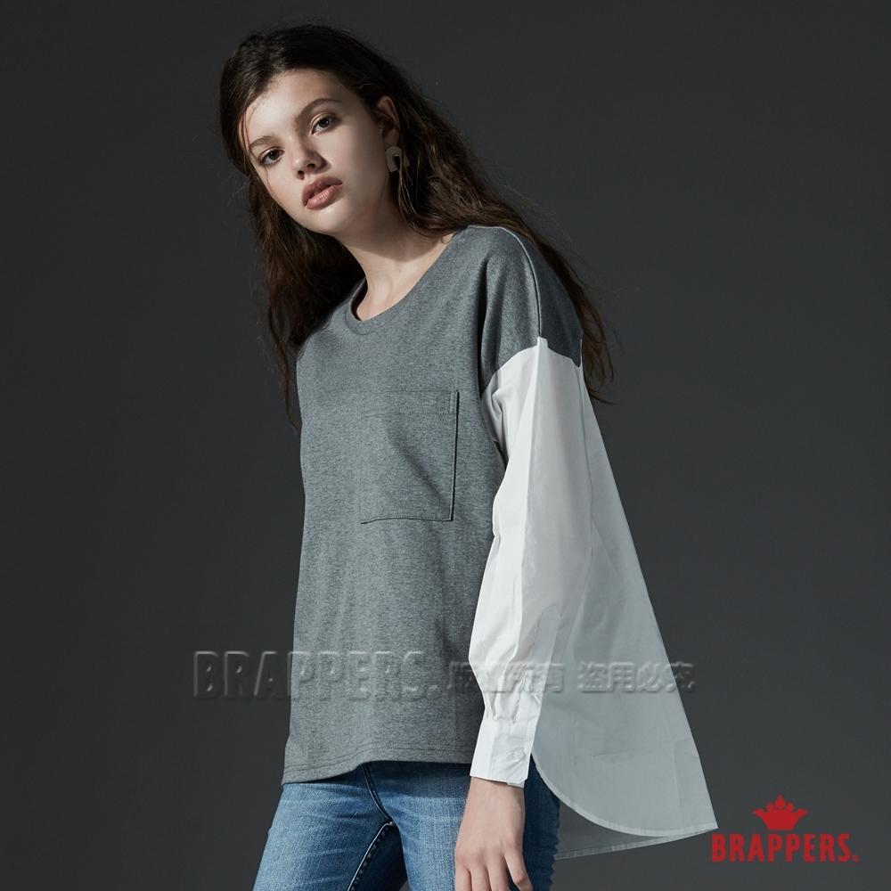 BRAPPERS 女款 異材質拼接造型上衣-深灰
