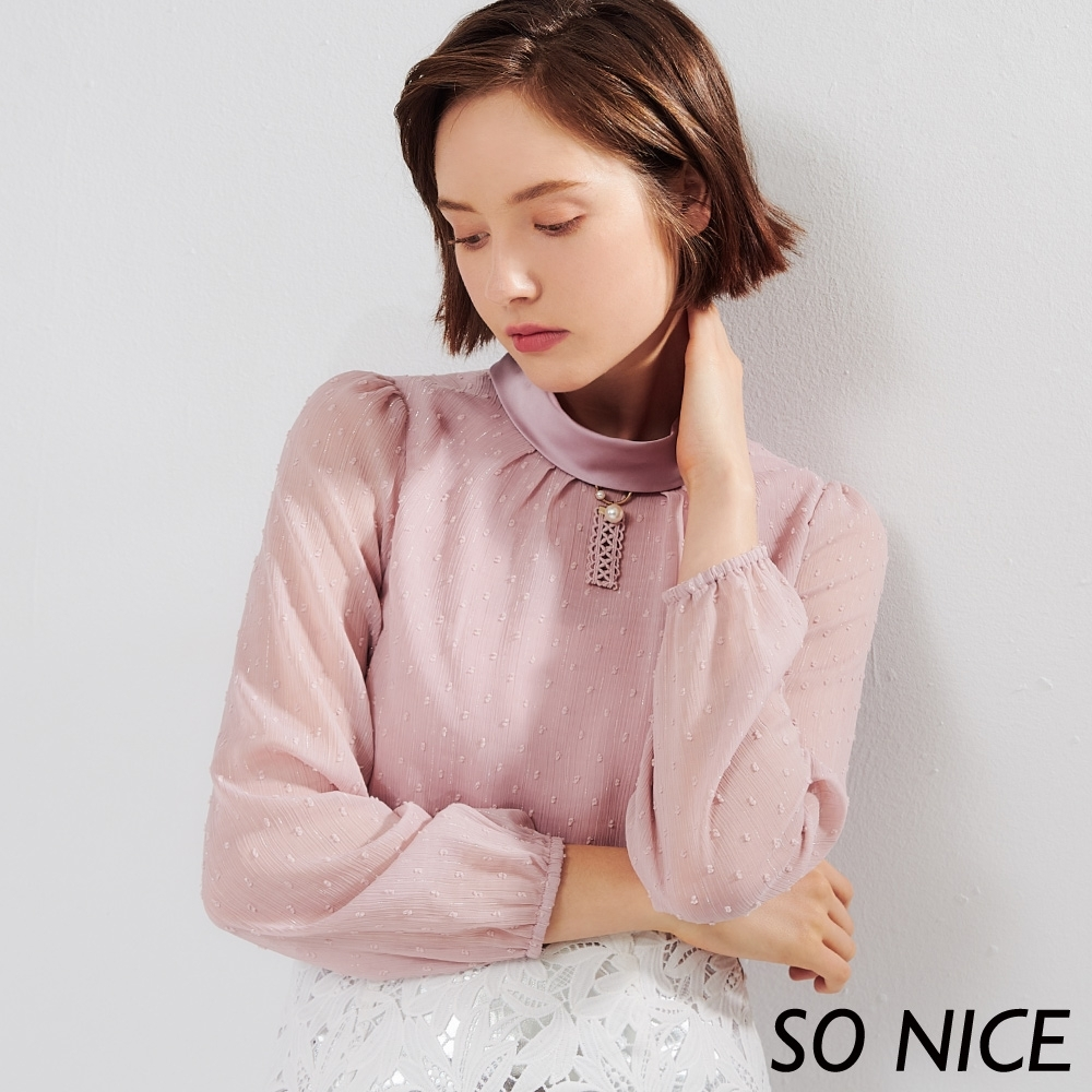 SO NICE優雅珍珠緹花雪紡上衣