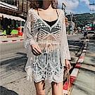 AH dream夢想女孩 白色防曬長袖顯瘦蕾絲罩衫C6230