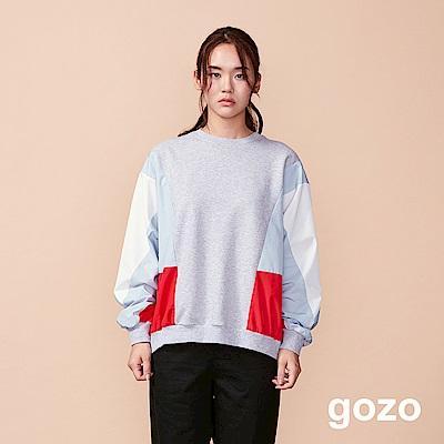 gozo 色塊異材質拼接造型上衣(二色)