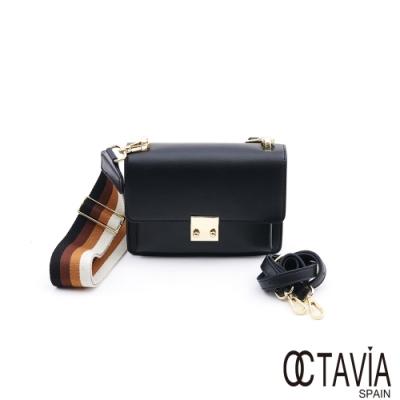 OCTAVIA 8 真皮 -  RAINBOW 硬式牛皮三色寬織帶四方肩斜二用小包 -  彩虹黑