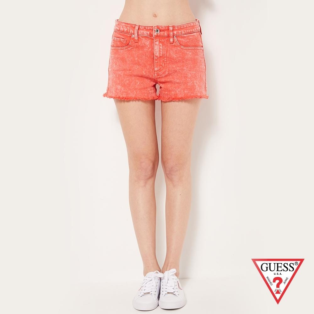 GUESS-女裝-刷舊修身不修邊牛仔短褲-橘 原價2490