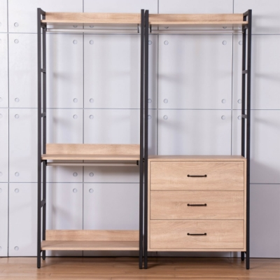 D&T德泰傢俱 格萊斯原切木工業風5.2尺三抽+雙吊多功能衣櫃-160x44x196cm