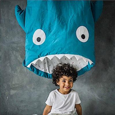 【兒童標準版-土耳其藍】BabyBites西班牙鯊魚咬一口多功能睡袋