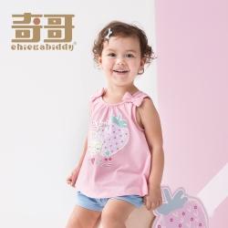奇哥 小草莓蝴蝶結上衣-粉 (