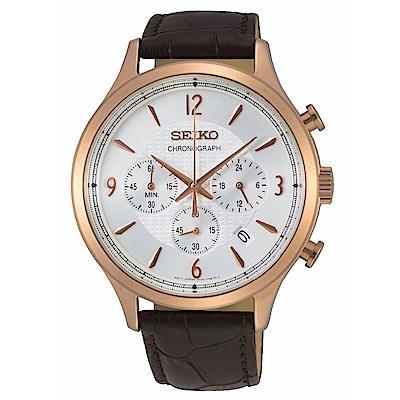 SEIKO精工 沉穩質感三眼計時腕錶8T63-00M0K(SSB342P1)