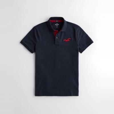 海鷗 Hollister 經典刺繡大海鷗合身短袖Polo衫-深藍色