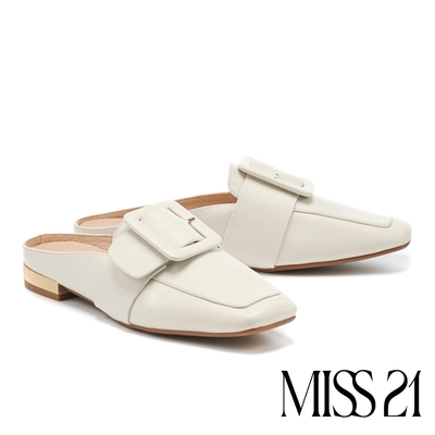 穆勒鞋 MISS 21 復古文青大方釦牛皮方頭低跟穆勒拖鞋-白