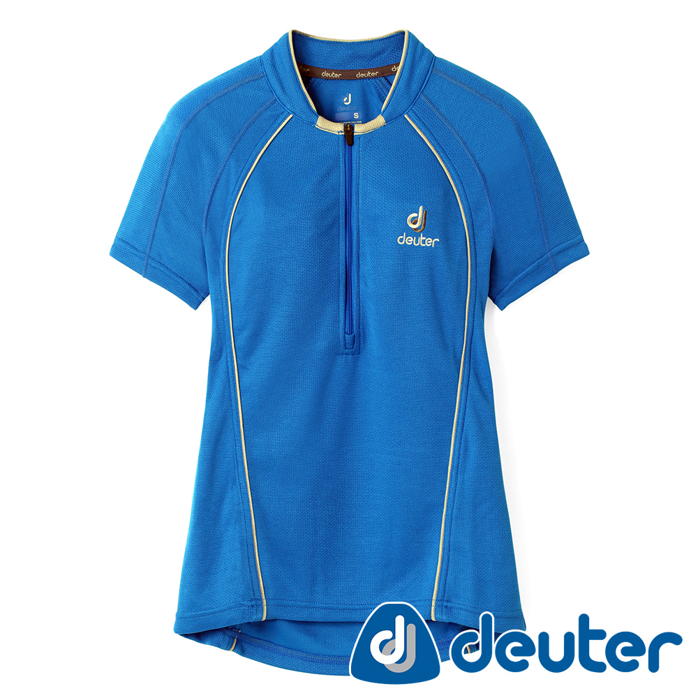【deuter德國】女款Polartec吸濕排汗透氣快乾短袖polo衫DE-P1003W深藍/登山健行/休閒穿搭