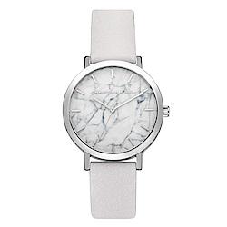Christian Paul 大理石系列 銀框/白色皮革手錶35mm