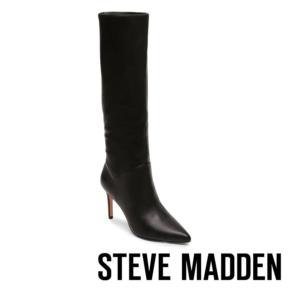 STEVE MADDEN-KINGA 心機魅力款尖頭中跟長靴-黑色