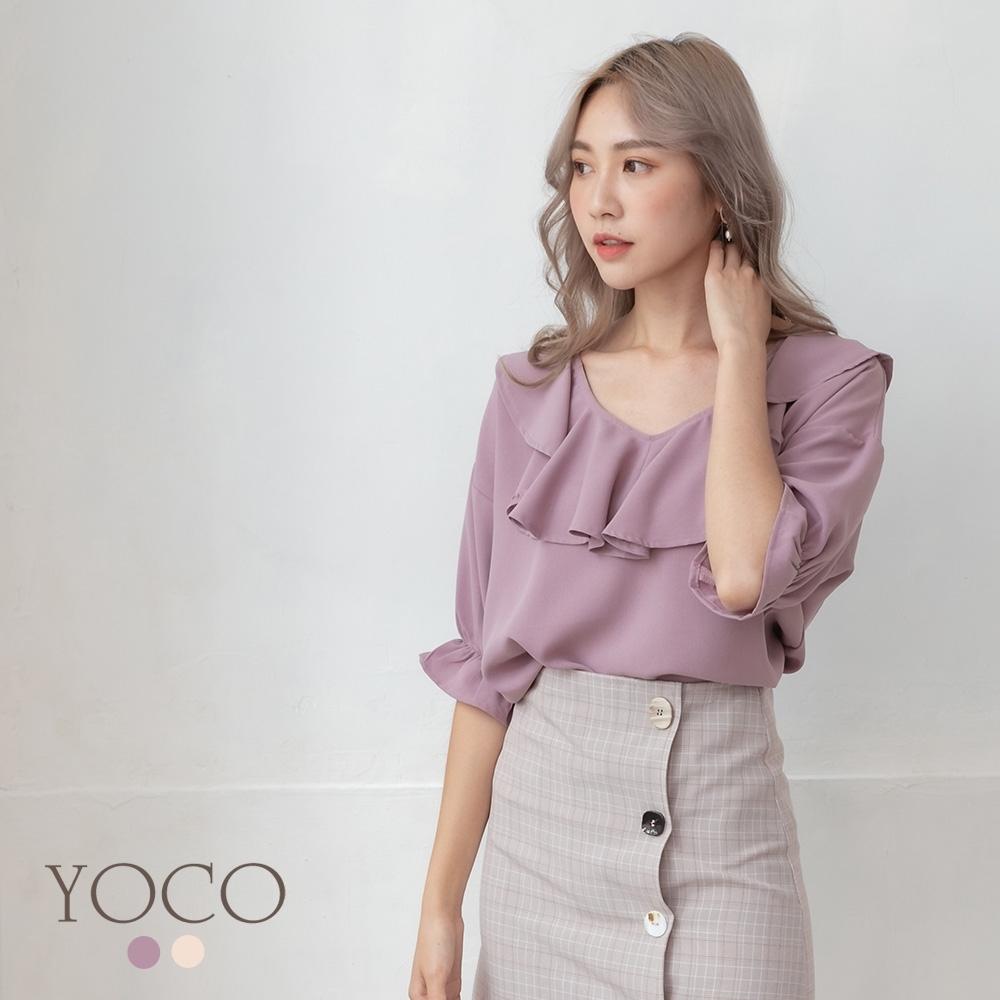 東京著衣-YOCO 浪漫飄逸寬鬆V領荷葉領縮袖上衣-S.M.L(共兩色)