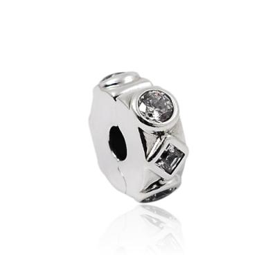 Pandora 潘朵拉 幾何造型鋯石夾扣式 純銀墜飾 串珠