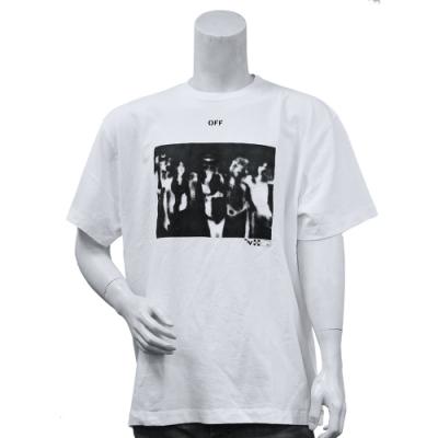 OFF-WHITE 經典品牌LOGO圖案棉質短袖OVER SIZE T恤(白)