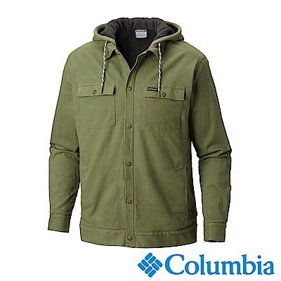 Columbia哥倫比亞 男款-連帽長袖襯衫外套-苔綠