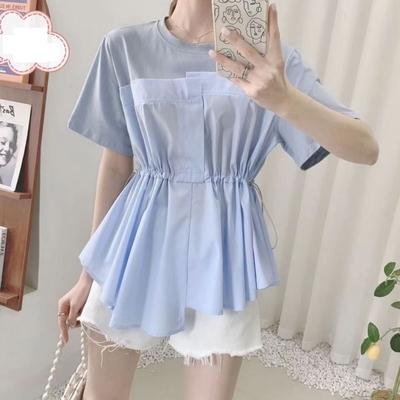 La Belleza圓領棉質拼接異素材不對稱腰抽繩寬鬆上衣