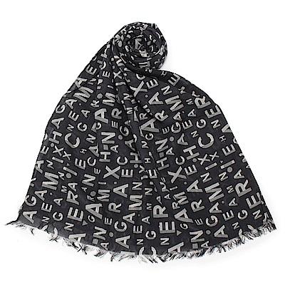 Armani Exchange 經典滿版LOGO純棉薄圍巾-黑/白