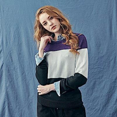 CACO-三分割拚色毛衣-情侶款(兩色)-女【RNA040】