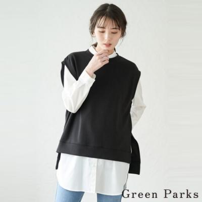 Green Parks 【SET ITEM】側開叉造型背心+圓領長版襯衫上衣