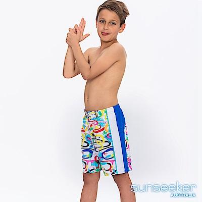 澳洲Sunseeker抗UV防曬海灘褲泳褲-大男童/幾何白